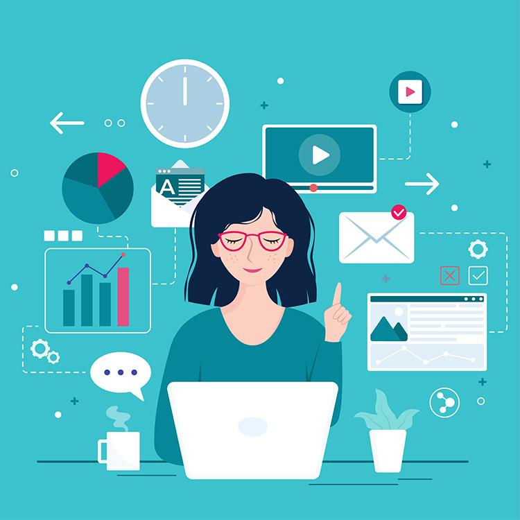 Illustration d'une femme sur un bureau derriere un portable avec des graphiques